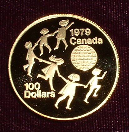 Details about canada 100 gold coin 22kt 1979 year of the child